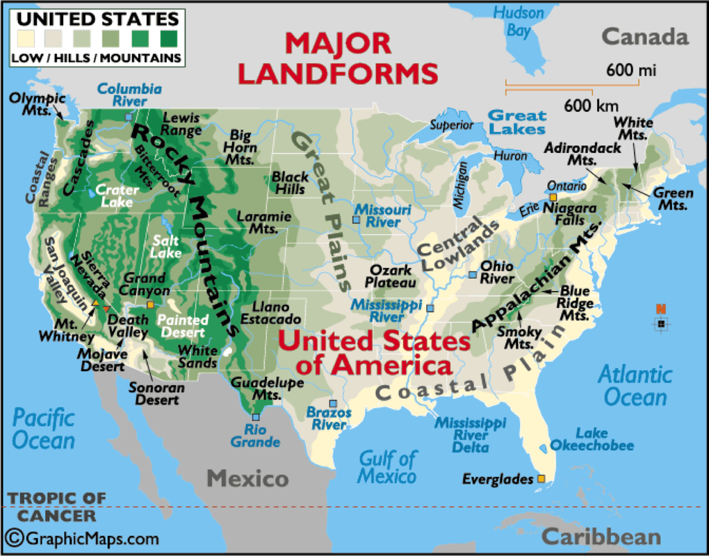 Maps Usa Map With Mountains Black Mountain Ski Map Free Download - Physical map of western us