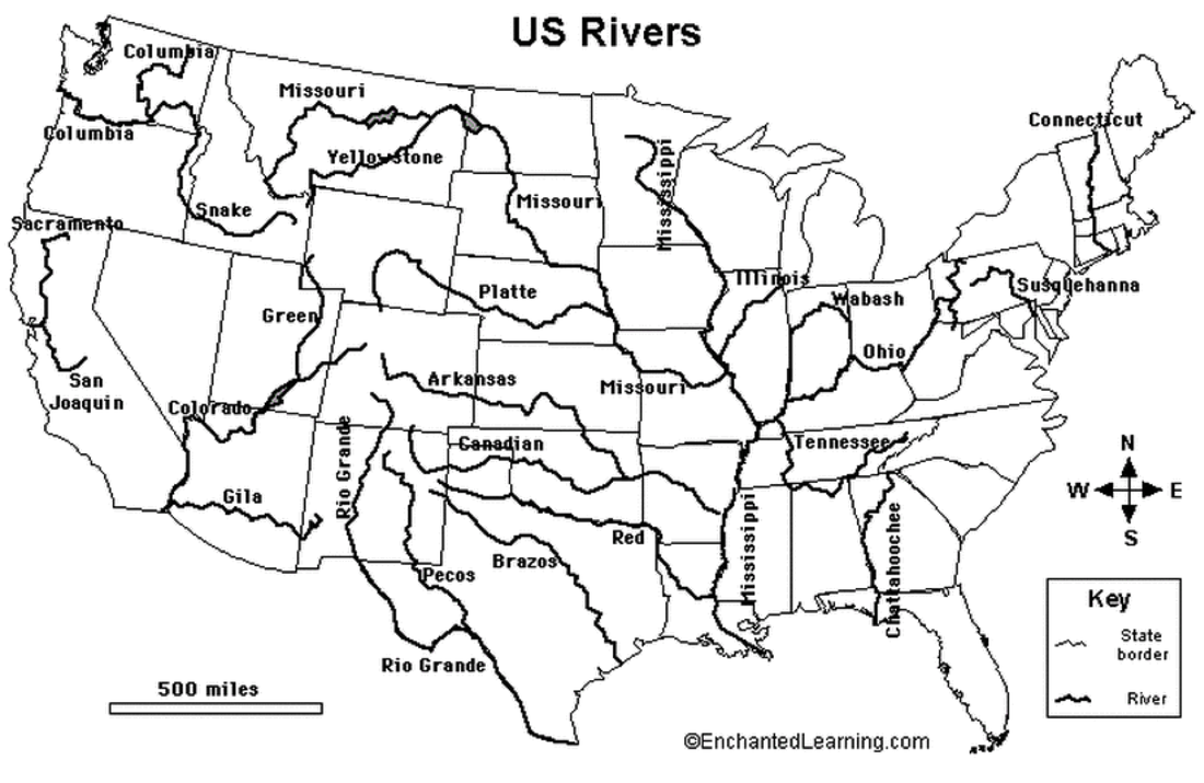 Geography United States History - Labeled us map with mountain range and rivers